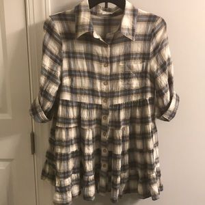 Plaid button down babydoll top